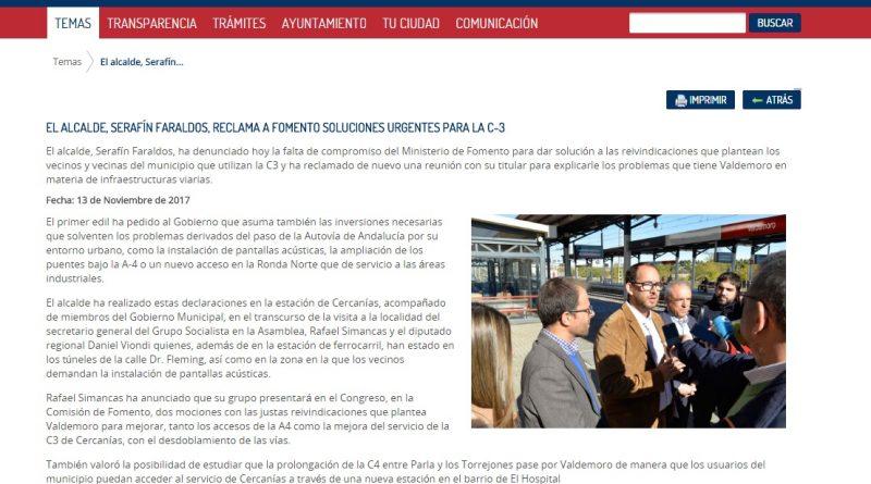 Faraldos usa la web municipal con fines políticos partidistas