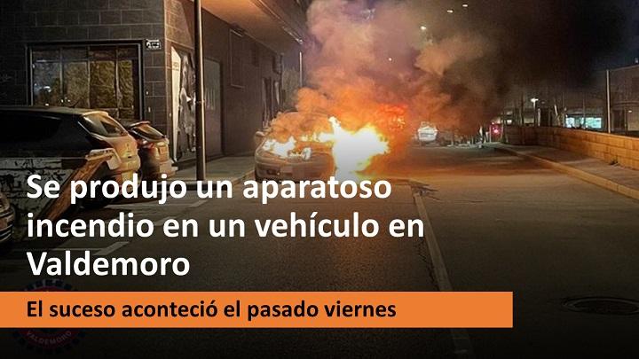 Aparatoso incendio en un vehículo en Valdemoro